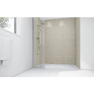 Wickes Sorrento Marble Laminate 1200 x 900mm 3 Sided Shower Panel Kit