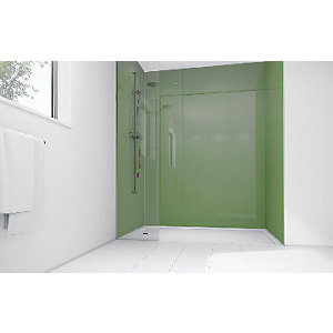 Wickes Forest Green Acrylic 1700 x 900mm 2 Sided Shower Panel Kit