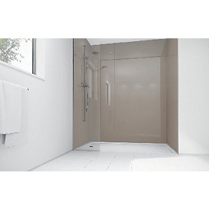Wickes Coffee Acrylic 1700 x 900mm 2 Sided Shower Panel Kit