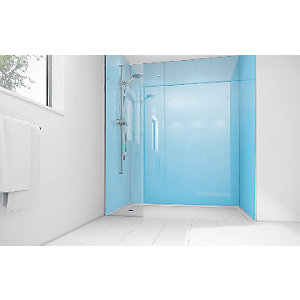 Wickes Sky Blue Acrylic 1700 x 900mm 2 Sided Shower Panel Kit