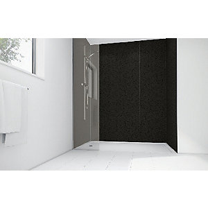 Wickes Black Lilly Laminate 1700 x 900mm 2 Sided Shower Panel Kit