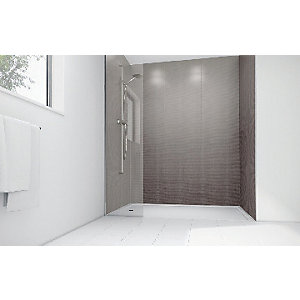 Wickes Grey Cotton Gloss Laminate 1700x900mm 2 sided Shower Panel Kit