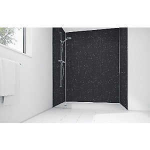 Wickes Black Sparkle Gloss Laminate 1700 x 900mm 2 Sided Shower Panel Kit
