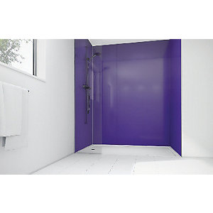 Wickes High Gloss Purple Laminate 1700x900mm 2 sided Shower Panel Kit