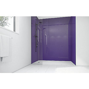 Wickes Plum Acrylic 1700 x 900mm 3 Sided Shower Panel Kit
