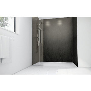 Wickes Obsidian Gloss Laminate 1700x900mm 3 sided Shower Panel Kit