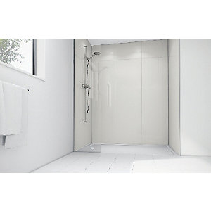 Wickes White Gloss Laminate 1700 x 900mm 3 Sided Shower Panel Kit
