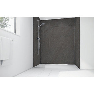 Wickes Solar Grey Laminate 1700 x 900mm 3 Sided Shower Panel Kit