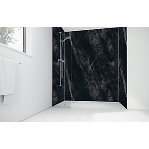 Wickes Black Calacatta Laminate 1200 x 900mm 2 Sided Shower Panel Kit