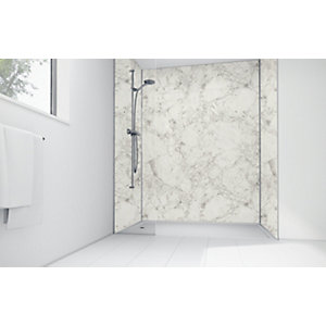 Wickes White Calacatta Laminate 1200 x 900mm 3 Sided Shower Panel Kit