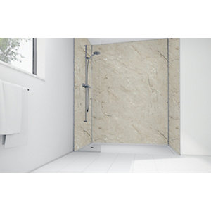 Wickes Grey Calacatta Laminate 1200x900mm 3 Sided Shower Panel Kit