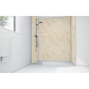 Wickes Natural Calacatta Laminate 1200x900mm 3 Sided Shower Panel Kit
