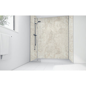 Wickes Cream Calacatta Laminate 1200x900mm 3 Sided Shower Panel Kit