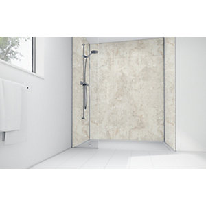 Wickes Cream Calacatta Laminate 1700 x 900mm 2 Sided Shower Panel Kit