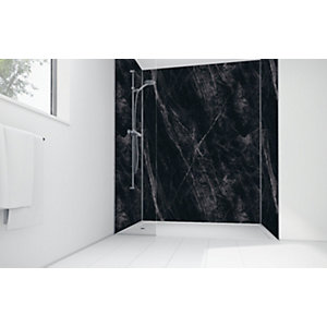 Wickes Black Calacatta Laminate 1700x900mm 3 Sided Shower Panel Kit