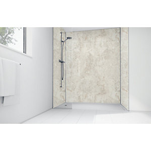 Wickes Cream Calacatta Laminate 1700x900mm 3 Sided Shower Panel Kit