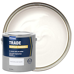 Wickes Trade Acrylic Eggshell Emulsion Paint Pure Brilliant White 2.5L