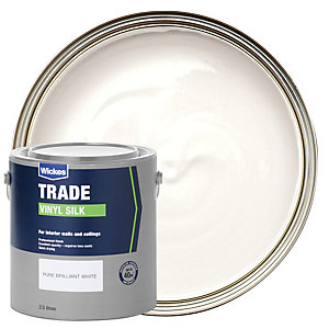 Wickes Trade Vinyl Silk Emulsion Paint Pure Brilliant White 2.5L
