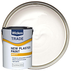 Wickes Trade Paint for New Plaster Emulsion White 5L