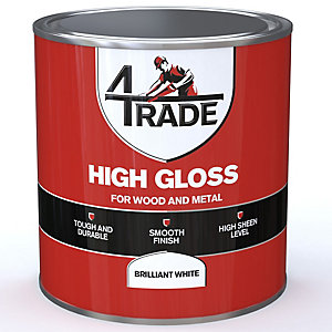 4Trade Gloss Paint Brilliant White 1L