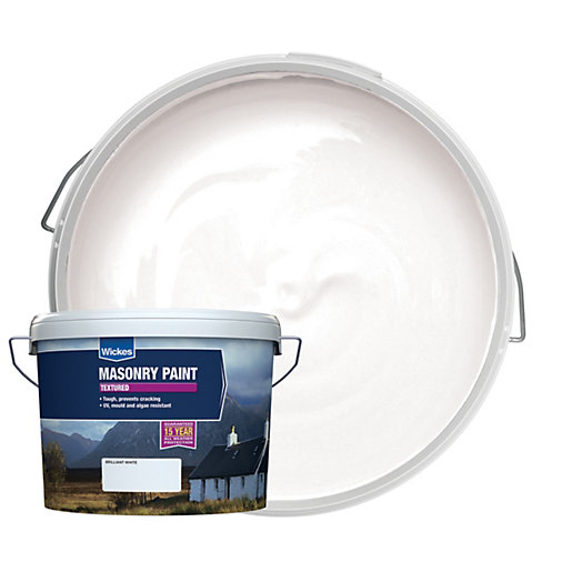 Wickes Textured Masonry Paint White 15l