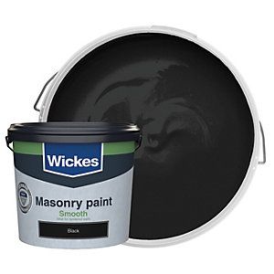 Wickes Smooth Masonry Paint Black 5L