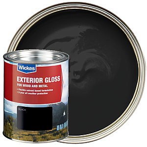 Wickes Exterior Gloss Paint Black 750ml