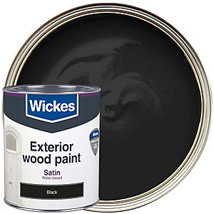 Wickes Exterior Satin Paint Black 750ml