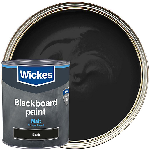 Wickes blackboard matt black paint 750ml for Black interior paint