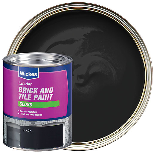 Wickes exterior brick tile paint gloss black 750ml - Wickes exterior gloss paint set ...
