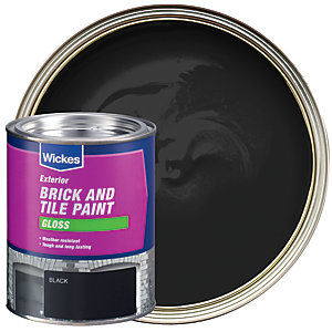 Wickes Exterior Brick & Tile Paint Gloss Black 750ml
