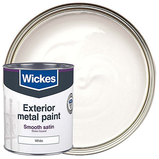 wickes metal paint smooth satin white 750ml. Black Bedroom Furniture Sets. Home Design Ideas
