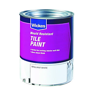 Wickes Tile Paint Brilliant White Satin 750ml