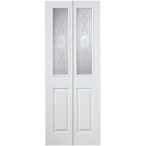 Wickes Stirling Internal Bi-Fold Door White Grained Glazed Moulded 4 Panel 1981x686mm