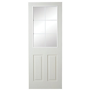 Wickes 6 Light Internal Moulded Door White Glazed Primed Grained 1981x686mm