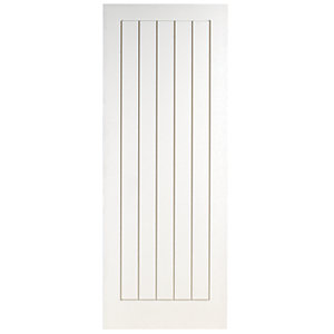 Wickes Geneva Internal Cottage Moulded Door White Primed 5 Panel 1981 x 610mm