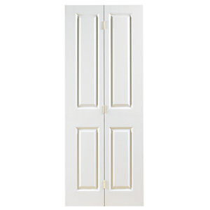 Wickes Stirling Internal Bi-Fold Door White Grained Moulded 4 Panel 1981x686mm