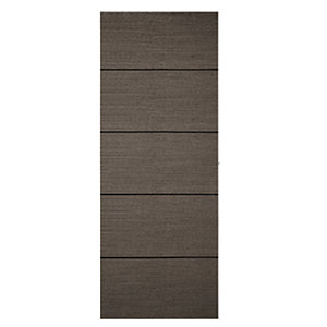 Wickes Milan 4 Line Horizontal Charcoal Grey Real Wood Veneer Door 1981 x 762mm