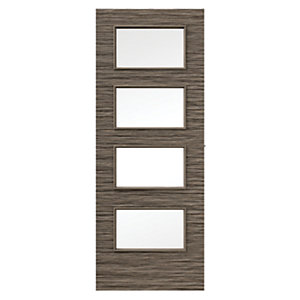 Wickes Milan Internal Mocha Horizontal Glazed Real Wood Veneer Door 1981 x 762mm