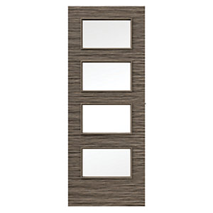 Wickes Milan Internal Mocha Horizontal Glazed Real Wood Veneer Door 1981 x 686mm