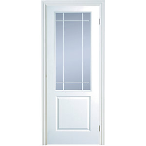 Internal Moulded 2 Panel Smooth Hollow Core Door Glazed Clear 1981mm x 686mm x 35mm