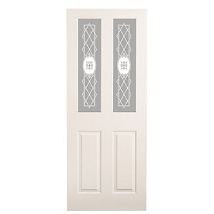 Wickes Stirling Internal Moulded Door White Glazed Primed 4 Panel 1981 x 686mm