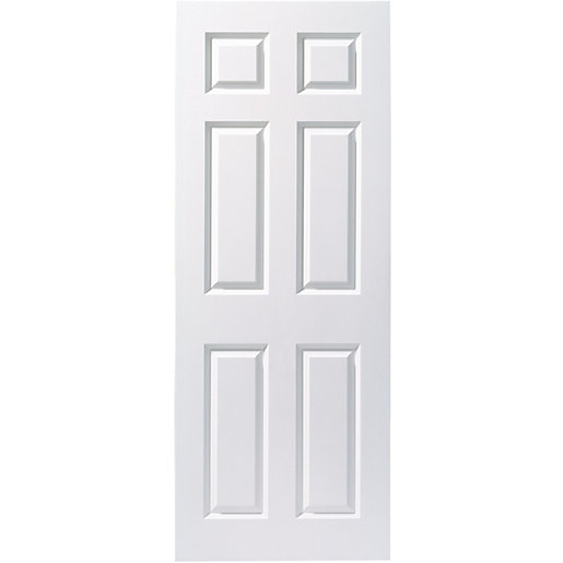 Wickes woburn internal fire door white smooth moulded 6 for Door viewer wickes