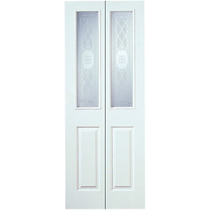 Wickes Stirling Internal Bi-fold Door White Grained Glazed Moulded 4 Panel 1981 x 762mm