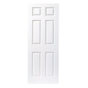 Wickes Woburn Internal Moulded Door White Primed Grained 6 Panel 1981x610mm