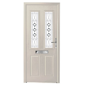 Wickes Malton Composite Door White 2 Panel 2100X840mm Left Opening