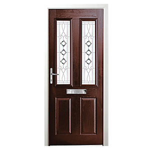 Wickes Malton Composite Door Rosewood 2 Panel 2085x840mm Right Opening