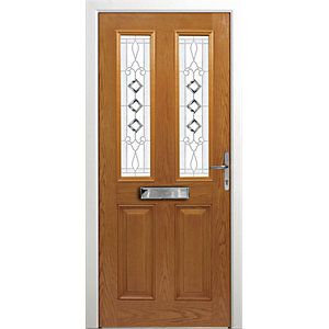 Wickes Malton Composite Door Oak 2 Panel 2100X880mm Left Opening