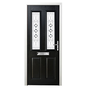 Wickes Malton Composite Door Black 2 Panel 2100X880mm Left Opening