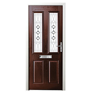Wickes Malton Composite Door Rosewood 2 Panel 2100 x 880mm Left Opening